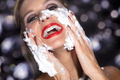 Woman with great makeup and shaving cream Royalty Free Stock Photos