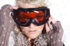 Woman with great makeup and ski goggles Royalty Free Stock Photography