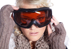 Woman with great makeup and ski goggles Stock Photos