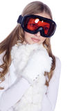 Woman with great makeup and ski goggles Royalty Free Stock Images