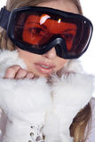 Woman with great makeup and ski goggles Stock Photo