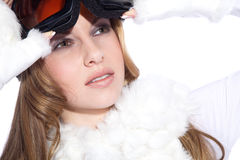 Woman with great makeup and ski goggles Royalty Free Stock Image