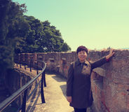 Woman on the great wall Stock Photo