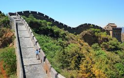 woman hiker with open arms on Great Wall royalty free stock photo
