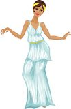 Woman in Greek dress. On white background Royalty Free Stock Images