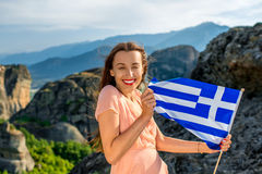 Woman with greek flag Royalty Free Stock Images