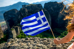 Woman with greek flag Stock Image