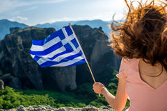 Woman with greek flag Stock Photos