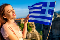 Woman with greek flag Stock Photography