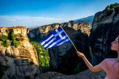 Woman with greek flag Stock Images
