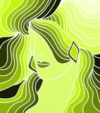 Woman with green Royalty Free Stock Photo