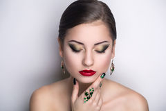 Woman green accessory royalty free stock photos