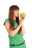 Woman with green apple. Royalty Free Stock Image