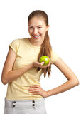 Woman with green apple Stock Photography
