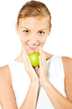 Woman With Green Apple Royalty Free Stock Images