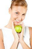 Woman With Green Apple stock image