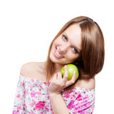Woman with green apple Stock Photo