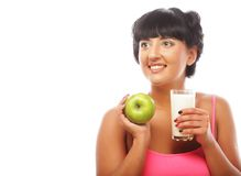 Woman with green apple and milk Stock Photos