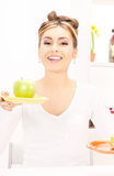 Woman with green apple and sandwich Royalty Free Stock Photos