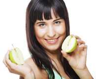 Woman with green apples Royalty Free Stock Photography