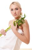 Woman with a green bamboo Royalty Free Stock Images