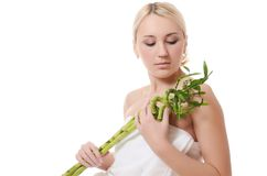 Woman with a green bamboo Royalty Free Stock Photography