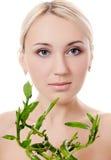 Woman with a green bamboo Stock Photos