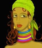 Woman with green bandana Royalty Free Stock Photos