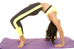 Woman in green and black fitness clothes backbend Stock Photography