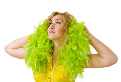 Woman with green boa Royalty Free Stock Image