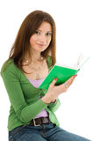 Woman with green book Royalty Free Stock Image