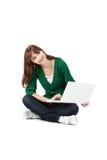 Woman in green coat Stock Photos