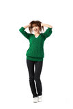 Woman in green coat Stock Photography
