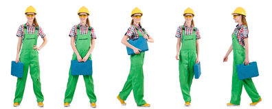 Woman in green coveralls isolated on white Royalty Free Stock Photo