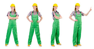 Woman in green coveralls isolated on white Royalty Free Stock Photography
