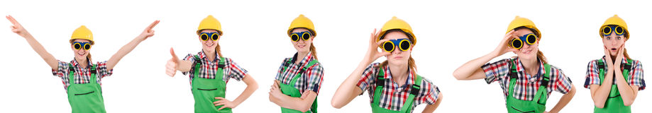 The woman in green coveralls isolated on white Royalty Free Stock Image