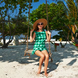 Woman in green dress at beach Royalty Free Stock Photos