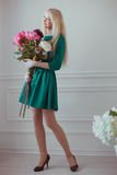 Woman in a green dress Royalty Free Stock Photo