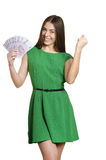 Woman in green dress Stock Photos