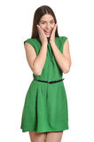 Woman in green dress Stock Photography