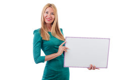 Woman in green dress Stock Images