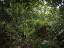 Woman with green dress and rubber boots is walking through jungle royalty free stock image