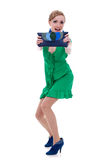 Woman in green dress showing a nice purse Royalty Free Stock Photography