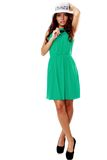 Woman in green dress and sun hat Stock Photography