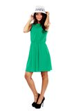 Woman in green dress and sun hat Royalty Free Stock Image