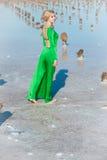 Woman in green dress Stock Photos