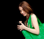 Woman with green ecological shopping bag Stock Image