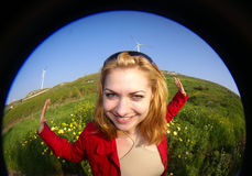 Woman and green energy Stock Photo