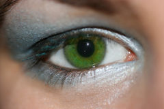 Woman Green Eye. A close up image of a woman green eye with makeup Stock Photography