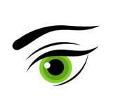 Woman green eye. Beautiful green woman eye.  illustration Stock Images